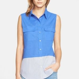 Equipment Blue Slim Signature Sleeveless Top